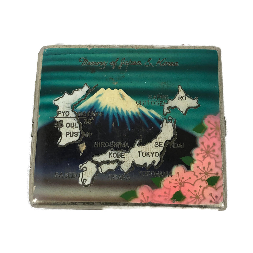 1950's Painted Japan & Korea Cigarette Case With Cherry Blossoms