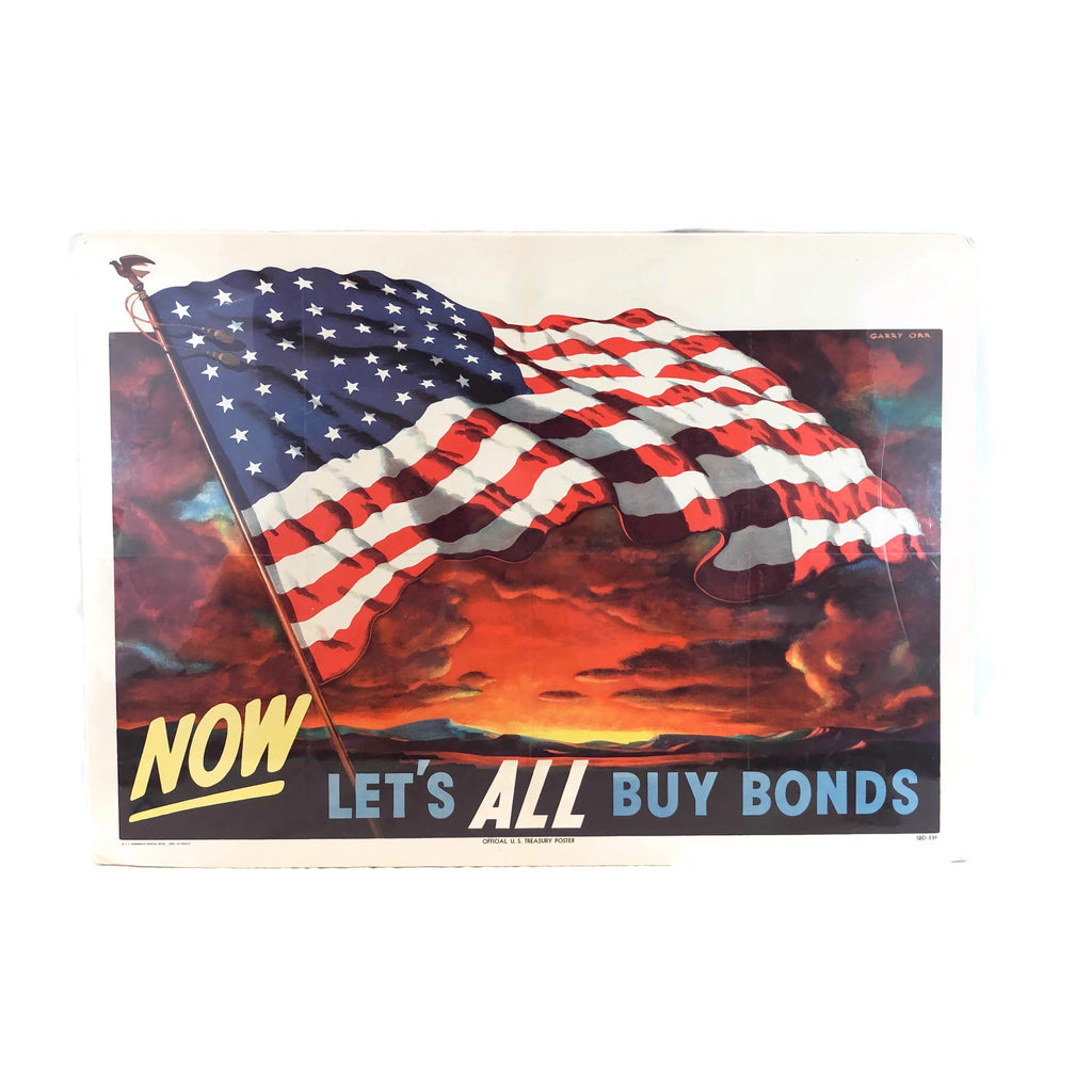 Vintage World War 2 Lets All buy War Bonds Poster