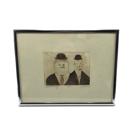 Vintage Signed & Numbered. J. Armel Etching Laurel & Hardy