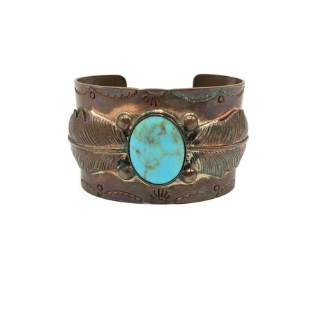 Vintage Copper Old Pawn Style Turquoise Cuff Bracelet