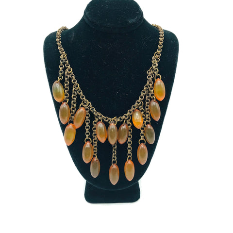 Vintage Apple Juice Bakelite Fringe Necklace