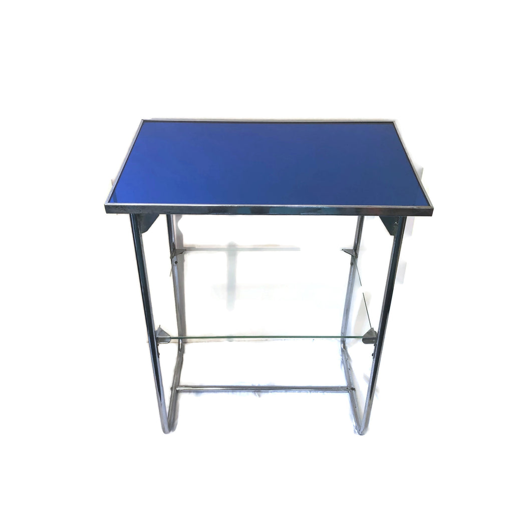 1930's Art Deco Chrome Blue Glass Side Table