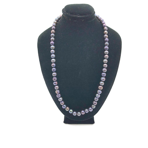 Vintage Dark Gray Purple Cultured Pearl Necklace W/ 14K Clasp