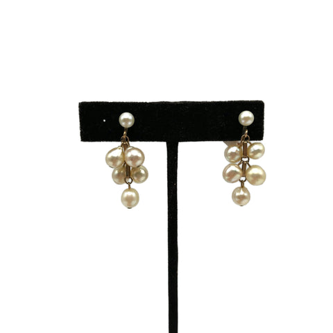 Vintage Real Pearl Dangle Screw back Earrings