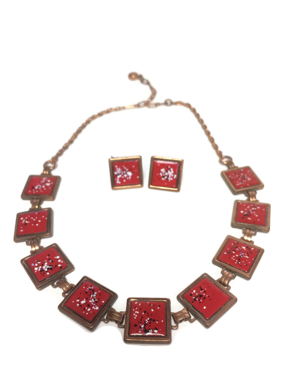 Rebaje Red Copper Enamel Necklace & Earring Set