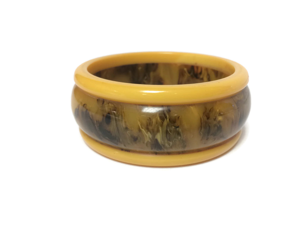 Bakelite Marbled Butterscotch Bangle Bracelet