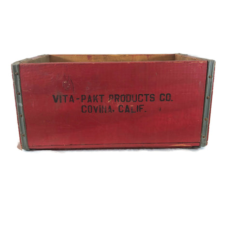 Vintage Red Vita-Pakt Products Co. Crate