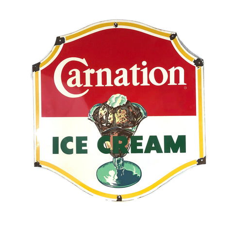 Vintage Original Porcelain Carnation's Ice Cream Sign