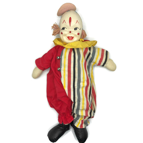 Vintage 1940's-50's Clown Doll With Oil Cloth Face
