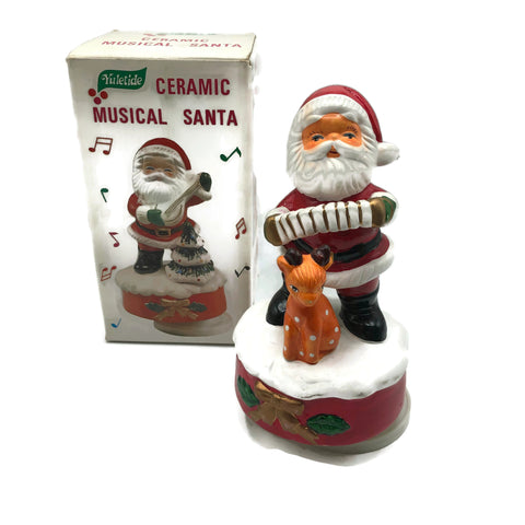 Vintage 1960's New old Stock Musical Ceramic Santa Claus Music Box