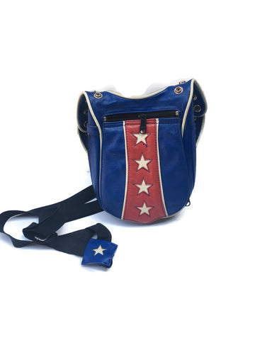 Red, White, & Blue Leather Motorcycle Bag