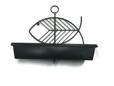 Mid Century Modern Black Metal Fish Wall Planter