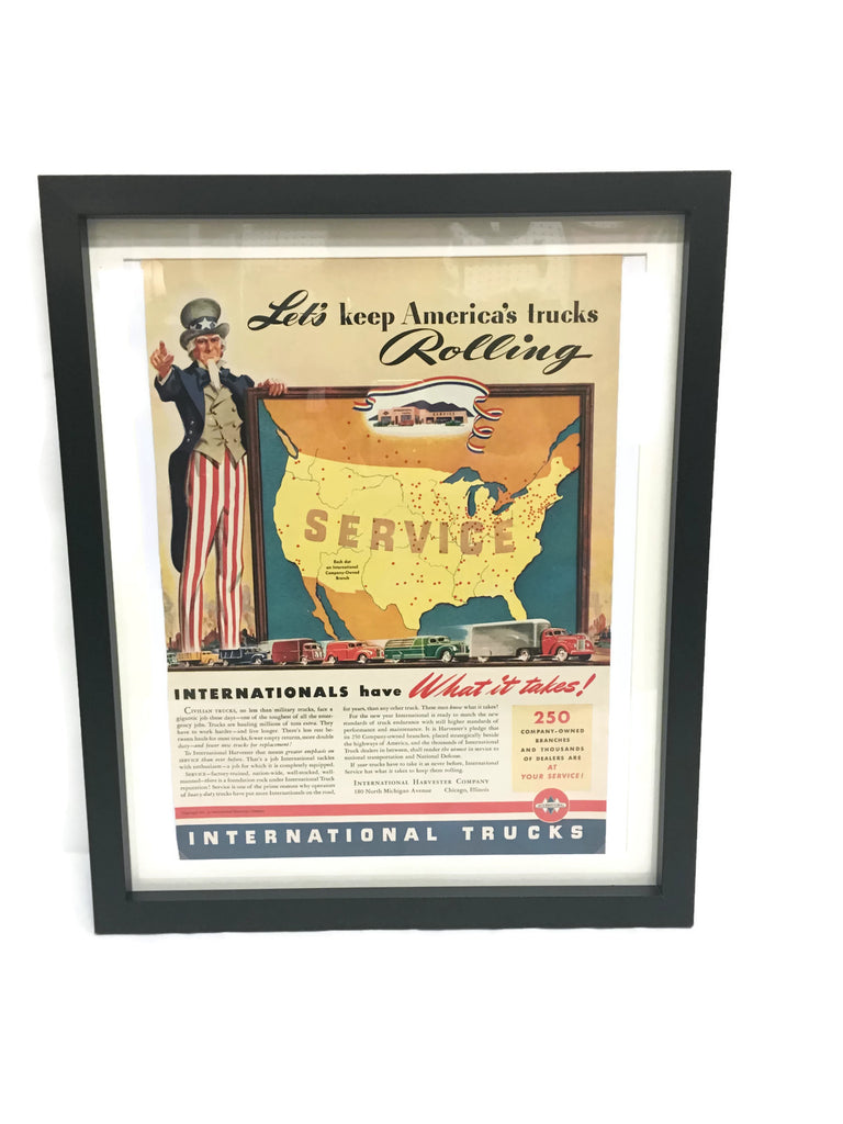 Framed Original Vintage International Trucks Advertisement
