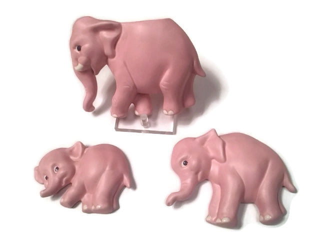 Vintage 3 set PINK ELEPHANT Wall Plaques / wall pocket