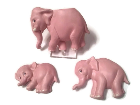 Vintage Ceramic Pink Elephant Set Wall Pocket and Plaques Decor