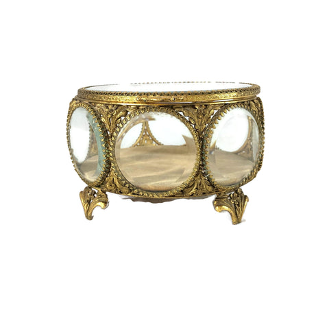 Vintage Round Beveled Glass Jewelry Casket Box.