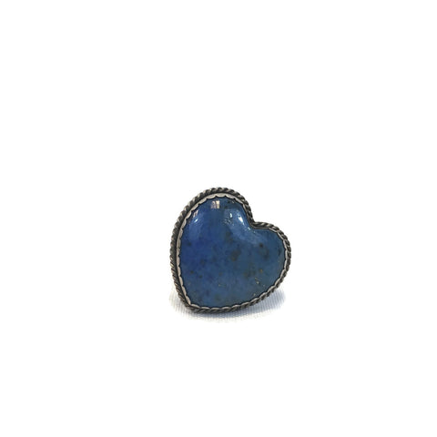 Vintage Adjustable Sterling Silver Lapis Heart Ring Size 6