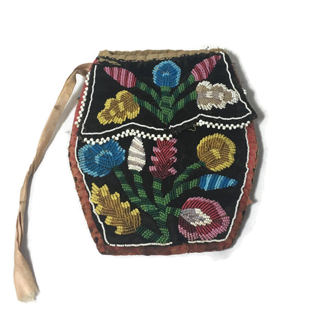 Antique New York Great Lakes Area Beaded Purse Circa 1900-1920