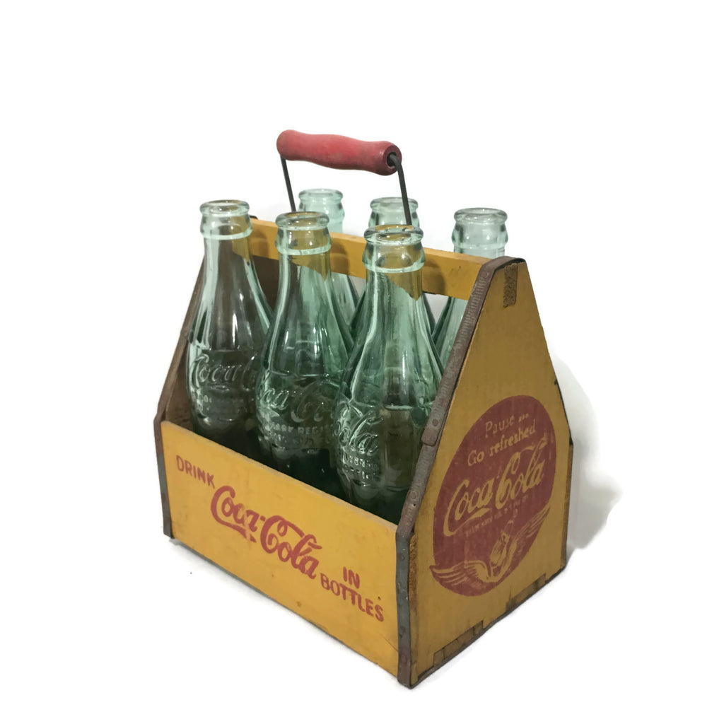 Vintage 1941 WW2 Type Coca Cola Bottle Carrier W/ 1950's Bottles