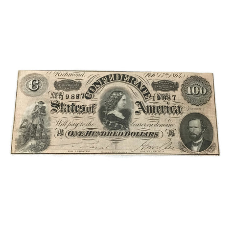 Antique 1864 Confederate Bank Note $100
