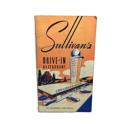 Vintage Sullivans Drive In Restaurant Menu In Long Beach California