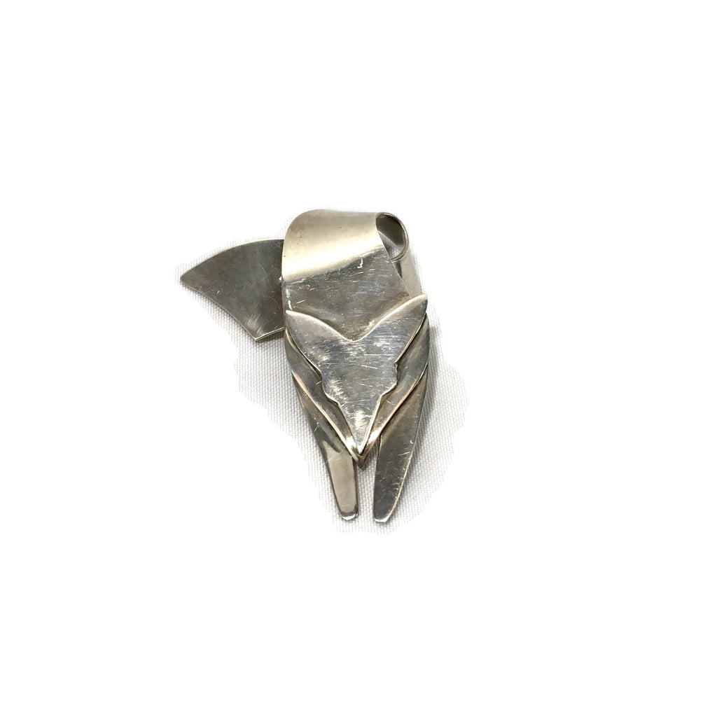 Vintage Los Ballesteros Modernist Sterling Silver Fox Brooch