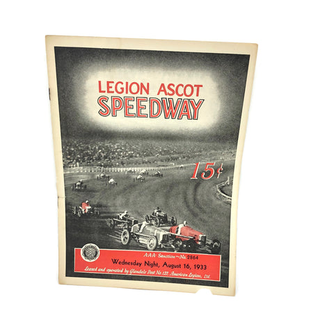 Legion Ascot Speedway 1933 August Issue