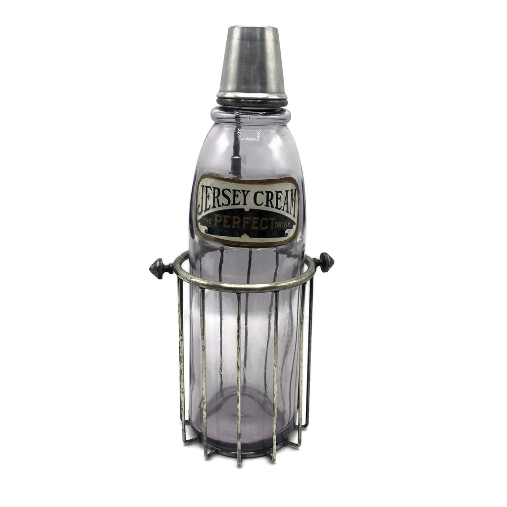 Antiques 1890's Jersey Cream Soda Fountain Syrup Bottle With Cage