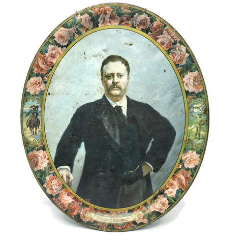 Vintage 1903 Teddy Roosevelt Tin Litho Rough Rider Border Tray