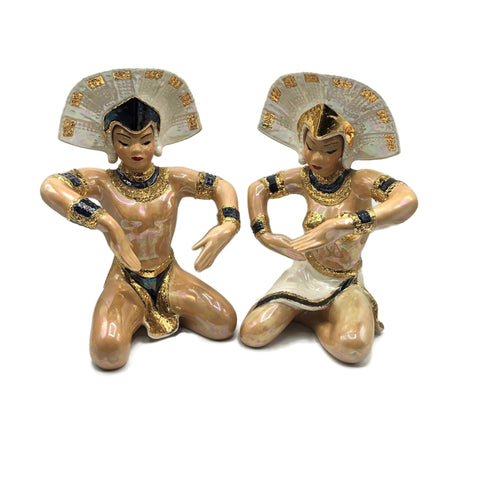 Vintage 1950's Pair of Asian Ceramic Figurines