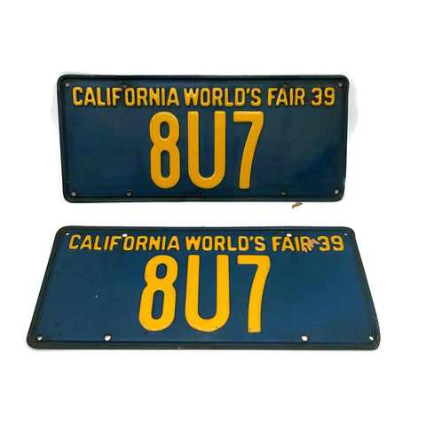 Vintage Very Rare 3 Digit 1939 CA World's Fair License Plates
