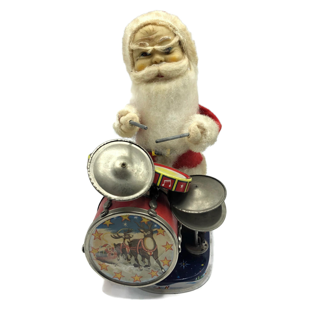 Vintage Battery Santa Playing Drums Toy (As Is)