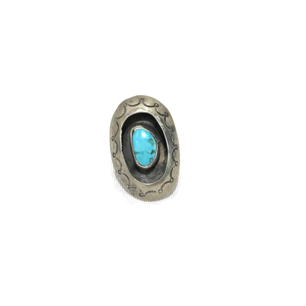 Vintage Old Pawn Fred Harvey Era Silver & Turquoise Shadow Box Ring