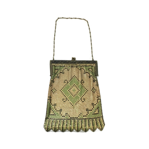 1920's Art Deco Yellow & Green Metal Mesh Purse