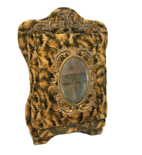 Antique/ Victorian Circa 1880-1905 Velvet Flip Down Photo Album Stand W/ Mirror