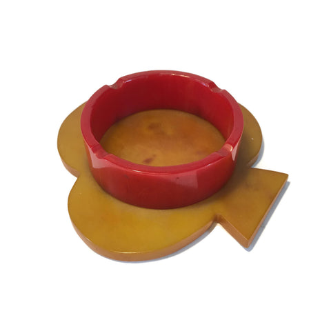 Butterscotch & Red Bakelite Club Ashtray