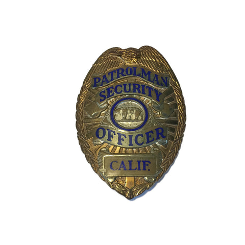 Patrolman Security Officer California Badge