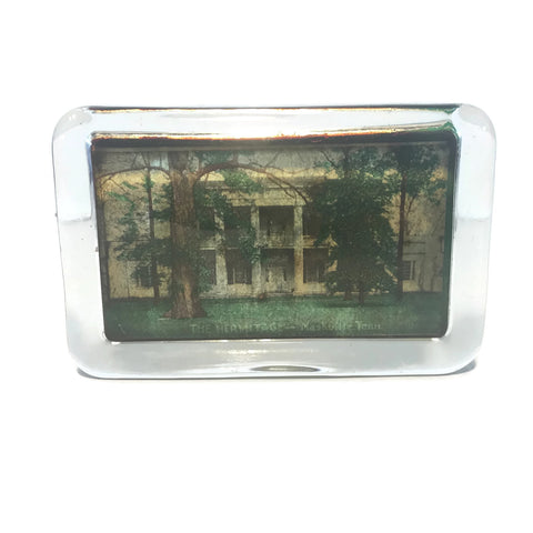 Vintage Hermitage House Nashville Tennessee Glass Paperweight