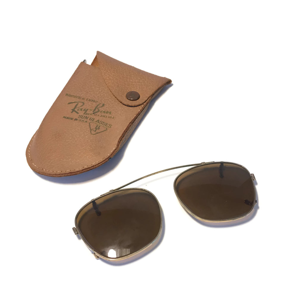 Vintage Pair of Ray Ban Clip On Lens's With Leather Case