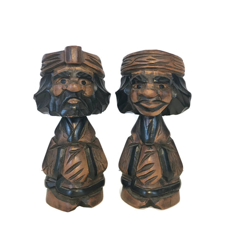 Vintage Carved Wooden Cheech & Chong Figurines