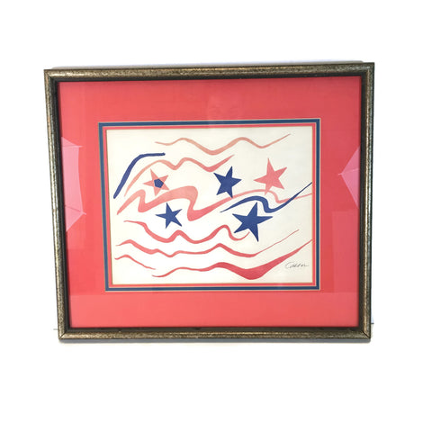 "Vintage 1960's Alexander Calder ""Stars & Stripes""  Lithograph With COA"