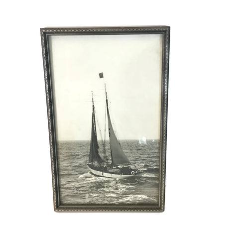 Vintage Art Deco Wooden Framed Photo Of A Sailboat