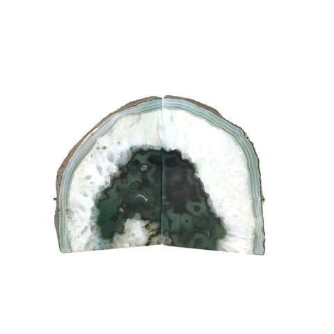 Vintage Green & White Geode Sliced Bookends