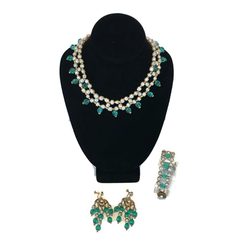 Vintage Miriam Haskell Necklace, Earring & Bracelet Set