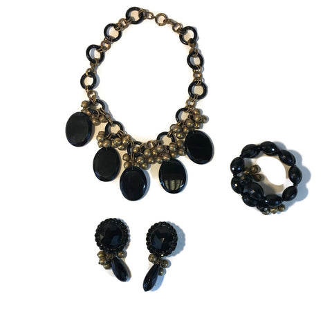 Vintage Early 1940's Miriam Haskell Necklace, Earring & Bracelet Set