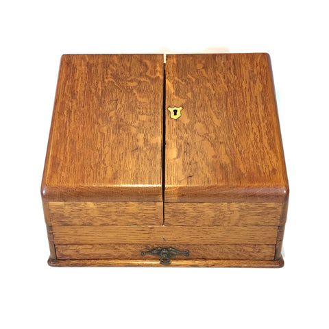 Vintage Slant Top Oak Box With Drawer