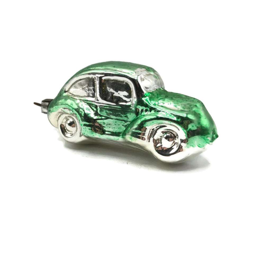 Vintage Volkswagen Beetle Green Glass German Christmas Ornament