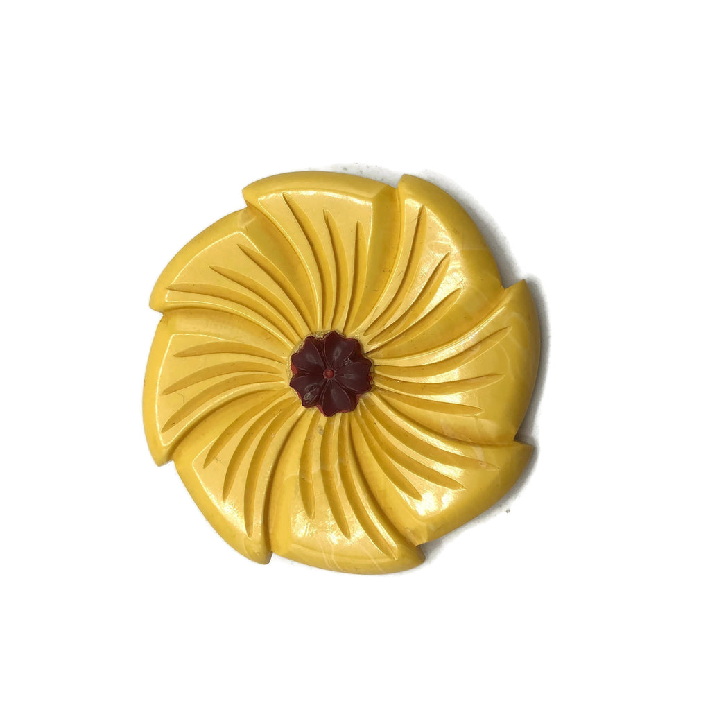 Carved 2 Tone Yellow & Red  Floral Bakelite Brooch