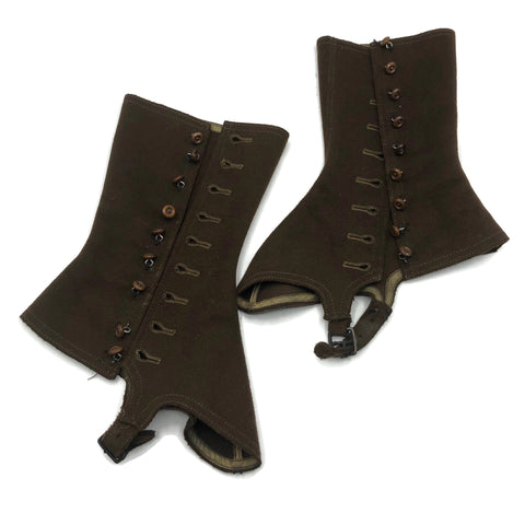 Pair of Antique Brown Wool Spats