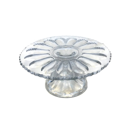 Clear Glass Victorian Cake Stand Circa 1900's